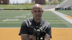 Baylor head coach Dave Aranda visits with media after Saturday practice