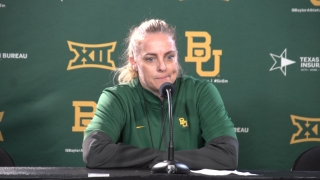 Collen, Smith and Lewis meet with the media after Baylor WBB first practice of season